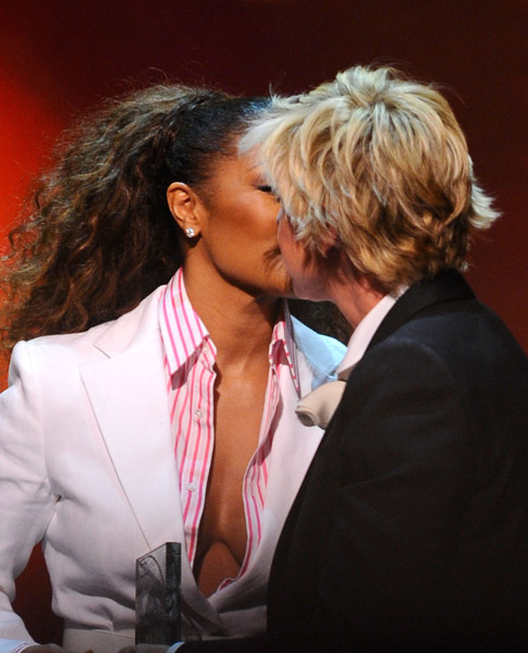 Janet Jackson was presented a GLADD Media award by Ellen Degeneres and they ...