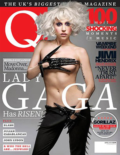 Lady Gaga Q Magazine. Lady Gaga Goes Topless on the